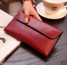 Genuine Leather Women's Slim Purse Long Clutch Wallet Credit Card Pockets