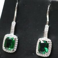 Gorgeous Green Emerald Hook Earrings Women Jewelry Gift 14K White Gold Plated