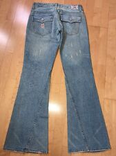 """True Religion Joey Destroyed Flare Jeans Tag Size 31 Light Pink Wash 31""""x32.5"""""""