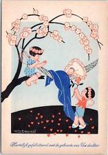 Signed Artist  WILLY SCHERMELE   Baby in Hammock  Winged Children   Postcard
