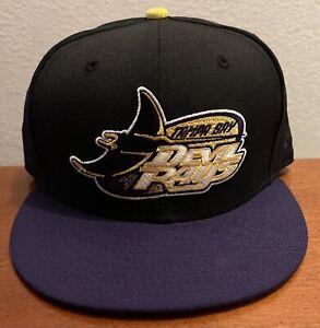 Tampa Bay Devil Rays Black/Purple/Yellow w/ Grey UV New Era Custom 59FIFTY 7 1/2