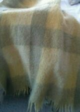 Vintage GLEN CREE 100% Mohair Blanket Throw Yellows Greens Made in Scotland