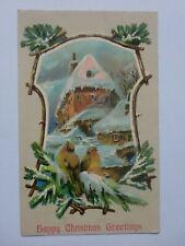 Christmas Robins Inn Snow Scene Vintage Embossed Postcard 1916