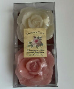 """Rose Shaped Floating Candle 3"""" Set of 2 Pink White New In Box Romantic Gift"""