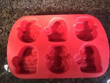 Wilton Silicone Mitten Snowman Baking Pan Red NWOT Holiday Excellent Condition