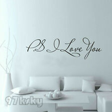 """PS I Love You"" Vinyl Wall Quote Stickers Home Art Sayings Decal Decor Gifts RYM"
