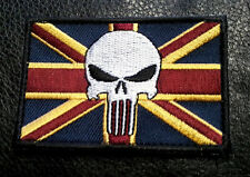 PUNISHER UK FLAG EMBROIDERED MILITARY 3 INCH HOOK UK PATCH BY MILTACUSA