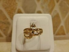Vintage signed DS 18k yellow gold 11 diamond arrow snake ring abstract size 7.25