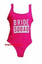 Primark Ladies Bride Squad Swimsuit Swimming Costume Hen Party Wedding Neon Pink