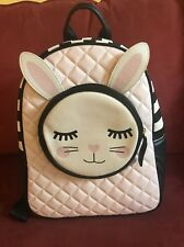 New Betsey Johnson Pink Black White Quilted Bunny Backpack Retail @ $88