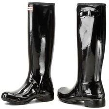 NWOB Hunter Original Tour Gloss Packable BLACK LIGHTWEIGHT Rain Boot SIZE 10 NEW