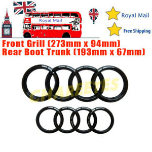 Black Gloss FOR Audi Front Rear Grille Badge Rings Logo Emblem A3 A4 A5 Sline UK