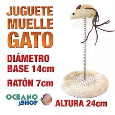 JUGUETE PARA GATO BASE PELUCHE 14cm MUELLE ALTURA 24cm RATÓN 7cm D26 7037
