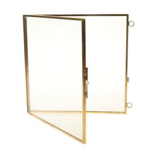 Retro Brass Glass Picture Photo Frame Hanging Portrait Craft 6.3 x 6.3""