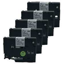 5PK Compatible for Brother TZ-231 TZe 231 Black on White P-Touch Label Tape 12mm