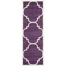 Hand-Tufted Safavieh Purple/Ivory Wool Runner 2' 3 x 11'