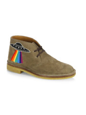 100% AUTH NEW MEN GUCCI NEW MOREAU EMBROIDERED CHUKKA SUEDE BOOTS UK 9/US 10
