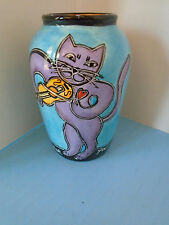 COLORFUL, HAPPY CAT VASE, BY OUTI, MUSICAL CAT PLAYS VIOLIN, HAND PAINTED, CUTE!