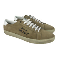 Saint Laurent Mens Court Classic Worn Suede Desert Tan Leather Sneakers Size 44