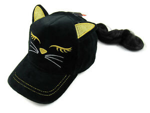 Claire's Black & Gold Cat Baseball Hat with Brunette Faux Hair Girls One Size