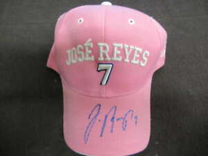JOSE REYES SIGNED AUTOGRAPH AUTO 2008 HAT COPA DE BASEBALL PINK HT020