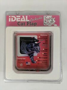 IDEAL 4-Way Lockable Weatherproof Cat Flap.Easy Installation 6.25 X 6.25 Opening