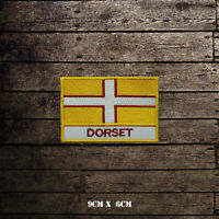 DORSET Flag With Name Embroidered Iron On Sew On Patch Badge For Clothes Etc