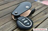 Black with  white stitch  Leather key cover for MINI Cooper S F56 F55 F54