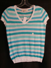 Ann Taylor Loft Linen Blend Striped V Neck Sweater Top XS NWT