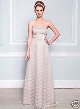 Size 12/14 Cassandra Champagne Satin Ivory Lace Long Bridesmaid Dress BHS