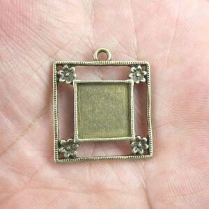 10pcs  antiqued bronze Square cabochon settings G412