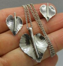 Signed LUELLA C. SCHROEDER MODERNIST Earrings & Pendant Necklace Sterling Set