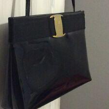 Salvatore Ferragamo Vintage Black Patent  Leather Vara Bow Bag With Long Strap