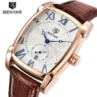 BENYAR Men's Luxury Date Retangle Analog Quartz Sport Wrist Watch Leather Strap