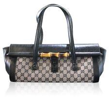 864f85ec7 Gucci Bamboo Black Monogram Leather Bullet Shoulder Bag Purse