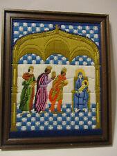 Needlepoint Three Wise Men Longstitch Bargello Framed Artcraft Concepts Vintage