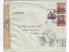 1954 Port Said Egypt, Airmail to Kingman AZ Coal, Censored, 2m, Pair 40m Stamps
