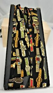 Nicole Miller SIGNED Cigar Bands 100% Silk Bow Tie & Suspenders Set Hand Sewn