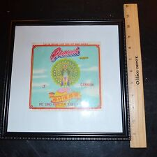 "Vintage Peacock  Brand 3"" Cannon Brand Fire Cracker Brick  Label Framed"