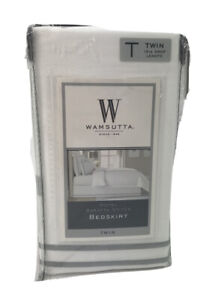 Wamsutta Baratta Stitch Cotton 15-Inch Drop Bed Skirt Twin White