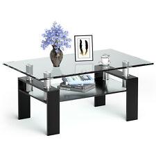 Costway Rectangle Glass Coffee Table Metal Legs End Table Livingroom Black