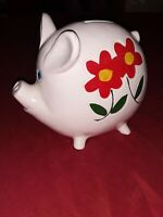 Vintage made In Japan ceramic piggy bank With Beautiful Flowers