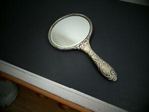 Vintage Silver Plated Vanity  Hand Mirror
