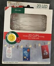 MELANNCO 20 LED String Light Strand w/Photo Clips to hang holiday cards~NIB