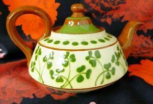 Vintage Irish Motto Ware / Brown Stoneware Shamrock Teapot