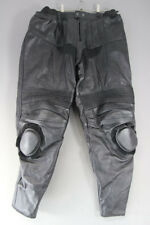 "BLACK LEATHER BIKER TROUSERS + CE ARMOUR & KNEE SLIDERS: WAIST 36/INSIDE LEG 33"""