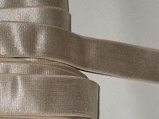"3 yards 1"" width LT bronze gold color elastic ribbon trim/ stretch ribbon trim"