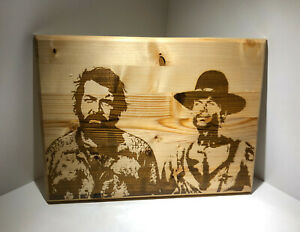 Quadro in Legno - Incisione Laser - Bud Spencer Terence Hill 40 cm x 30 cm sp 2c