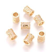 10pcs Golden Brass Cubic Zirconia European Beads Column Large Hole Loose 10x9mm