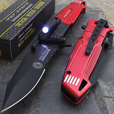 TAC FORCE ASSISTED OPEN TACTICAL RED FIRE FIGHTER RESCUE LED LIGHT Pocket Knife